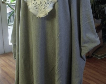Cozy, Knit and Lace Free Size Caftan/ Vintage Lace and Gray Knit Full Length Caftan/ Sheerfab Fall '16