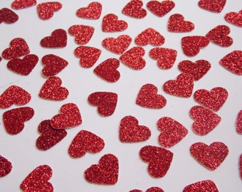 Red Glitter Heart Confetti, Wedding Reception Decoration, Table Scatter Confetti, Bridal Shower Decor, Valentine Party Decor 250 pieces