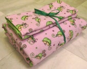 Pink and Green Sweet Peas Flannel Receiving Blanket and Burp Cloths Set