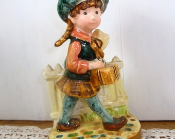 Vintage Girl Figurine With Gift Box, Presents, Cobblestone, Fence, American Greetings, No One (79-15)
