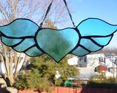 Enchanting Winged Heart  Stained glass Light Sun Catcher Aqua Teal   with beaded chain