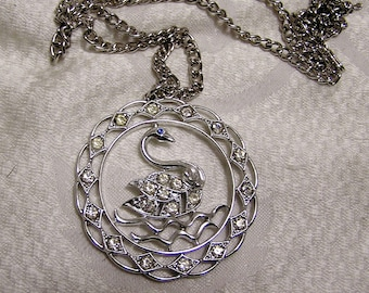 Vintage Sarah Coventry Large  Swan Pendant Necklace in Silvertone Setting Blue Rhinestone Eye Clear Rhinestones for the Rest (J4)