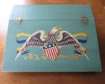 Vintage Desk Tabletop Flip Lid Wood Eagle