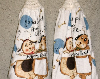Two Dogs in Chef's Hats Hanging Hand Towels Set of 2