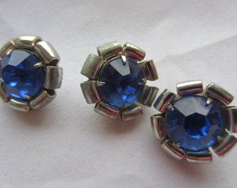 Vintage button- 3 matching sapphire rhinestone centers , silver metal setting (dec 532)