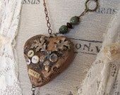 Altered Mixed Media Gypsy Jewelry  Altered Boho Necklace Vintage Style Nature Necklace Vintage Gypsy Vintage  Mixed Media Statement Necklace