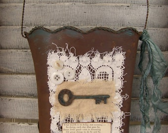 Handmade Altered Pail Altered Wall Decor Vintage Wall Pocket Vintage Mixed Media Vintage Wall Decor Vintage Lace Collage Victorian Decor