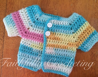 Newborn girl sweater.. Short sleeve cardigan.. Ready to ship