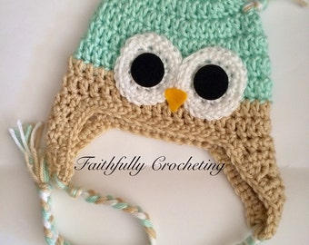 Newborn owl hat.. Sage owl hat.. Photography prop.. Ready to ship
