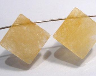 Honey Jasper  Diamond Shape Faceted Briolette Beads...13x13mm...2 beads