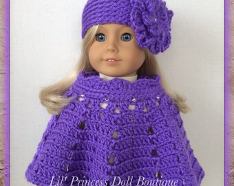 Handmade Doll Clothes Made For American Girl, 2 Pc Sparkle Poncho Set, Crochet Flower Hat, PURPLE