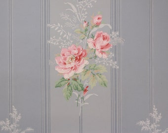 1940s Vintage Wallpaper Pink Rose Bouquets on Blue Stripe by the Yard
