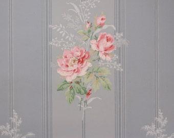 1940's Vintage Wallpaper Pink Rose Bouquets on Blue Stripe