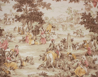 1950s Vintage Wallpaper Scenic European Village Sepia Tones by the Yard