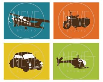 Modern Transportation Wall Art, set of 4, 8 x 10 prints for boys room - customizable colors