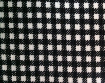 Upcycled Black and White Check Corduroy