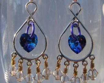 Winter Heart Swarovski Crystal Danlge Earrings