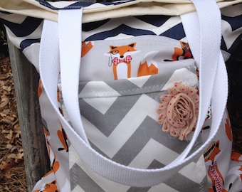 Fox tote, chevron tote, summer tote, beach tote, beach bag, purse, small tote, medium tote, bag, tote, diaper bag, diaper tote, fox, navy