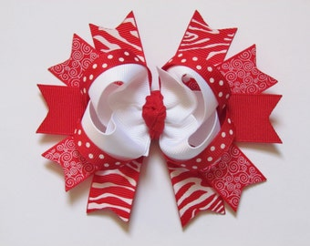 Red and White Zebra Dot and Swirl Avery Style Stacked Boutique Hair Bow Clip on alligator clip with no slip grip