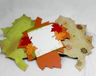 Leaf Album Die Cut Chipboard, Scrapbook Album, Altered Art  - 6 Page Scrapbook Album - .30 chipboard