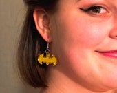 Gold Batman Comic Book Hero Geek Earrings, Cosplay Nerd Fashion Jewelry. Lasercut Acrylic Shiny