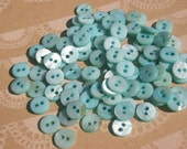"""Aqua Shell Buttons - Sewing Bulk Button - Small Turquoise Buttons - 3/8"""" - 50 Buttons"""