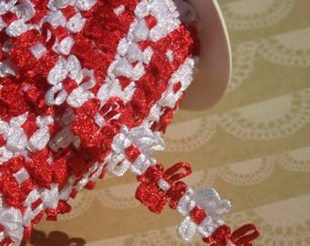 """Red Braid Trim - Red White Rosette Gimp Ribbon - 5/8"""" - 16 Yards - LAST OF SPOOL - Christmas Trim"""