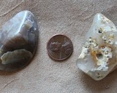 Pair of polished Oregon agate stones for crafts, jewelry and more 2oz.