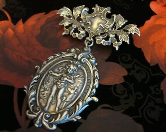 Angel Brooch, Victorian Inspired Brooch Pin, Sterling Silver Finish, Handmade, Metal Bonded Bar Pin, Quality Not Glued, Ready To Ship