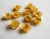 14 Gold rolled vellum paper flowers, wedding decoration, scrapbook decoration, table decoration, rosette, small flowers, embellishment