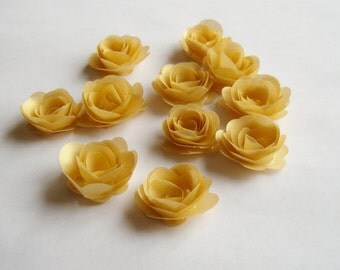 14 Gold rolled vellum paper flowers, wedding decoration, scrapbook decoration, table decoration, rosette, small flowers, embellishment