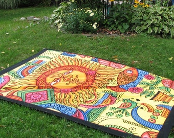 Sun Tapestry Picnic Blanket , Stake Down Design