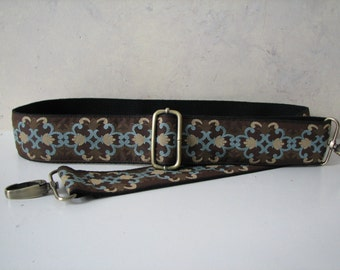 Custom BAG Strap,  Brown, Tan and Blue Purse Strap, Trigger Clip Hardware, 2 Inch Width