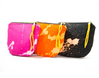 These Paths Mini- Black, Pink and Orange Splattered Canvas Card/Coin Pouches