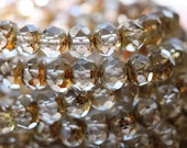 WHISPER .. 10 Premium Picasso Czech Clear Rondelle Beads 6x8mm (22-10)