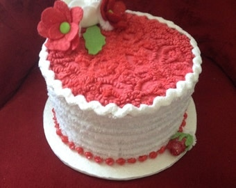 """Fake/faux """"Red Velvet"""" Cake Box/Centerpiece/Gift Box/Birthday cake with felt flowers and leaves"""