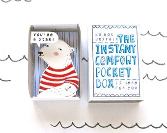 Polar Bear - The Instant Comfort Pocket Box - you're a star! - cheering up and consolation box