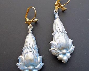 Victorian Style Earrings, Brass Fob Earrings, Lotus Flower Earrings, Aqua Blue Earrings, Dangle Earrings, Blue Flower Earrings,