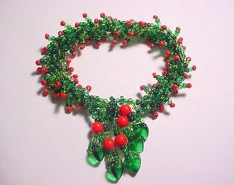 Christmas Holly and Berry Glass Seed Bead Spiral Rope Bracelet Pattern PDF