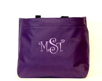 Monogram Purple Tote Bag, Personalized Market Tote, Large Monogrammed Bag, Christmas gift Under 20 Dollars