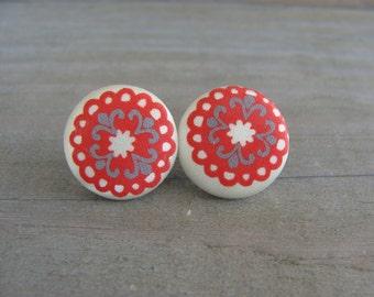 Vintage Style Satin 14mm Button Earrings Clover Mehndi Mandala Henna Tattoo Boho
