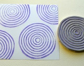 abstract circle hand carved rubber stamp, handmade rubber stamp