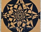 Black Hole Sun Mandala Acrylics on Canvas Mat Board Spiritual