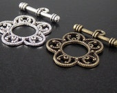 Toggle Clasp 2 Sets Antique Bronze or Silver CHOICE 5-point Flower Filigree Victorian 34mm NF (1054cla26m1)