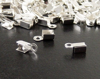 Cord Tips 100 8mm Silver CHOICE 50 9mm Fold Over End Clamp Jewelry Connector