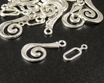 Clasp 2 Antique Silver Clasps Hook and Eye Decorative Victorian 25mm (1048cla25s1)