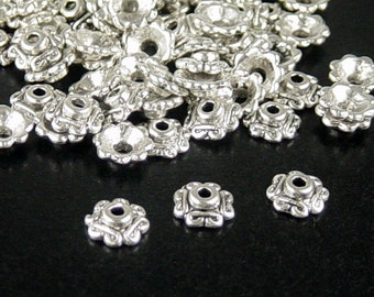 CLEARANCE Silver Bead Cap 100 Antique Silver Flower Victorian 7mm (1083cap07s1)os