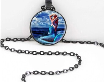Mermaid Necklace, Mermaid Pendant, Mermaid Bohemian Gypsy Jewelry RW439