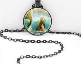 Mermaid Necklace, Mermaid Pendant, Mermaid Bohemian Gypsy Jewelry RW445