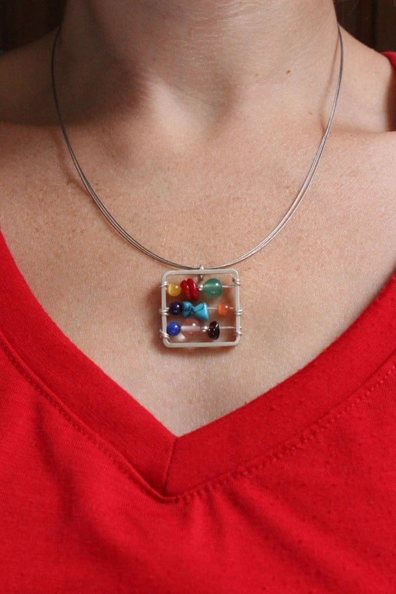 Little Abacus Necklace made in Sterling silver, Stones in colorful tones, Multicolor, Mathematics, Teacher, Square pendant
